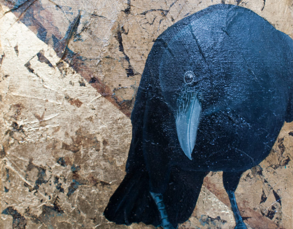 Amanda Kaay - original painting - acrylic and gold leaf - Caw-fee Crow