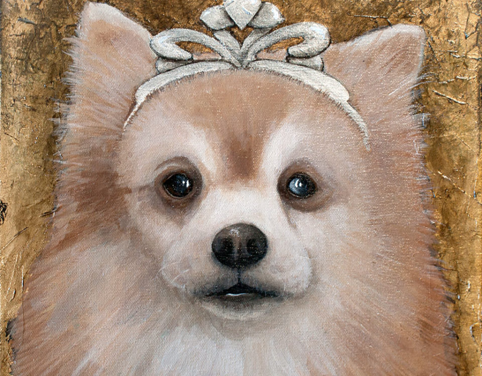 Amanda Kaay - original painting - acrylic and gold leaf - pet portraits -Foxy