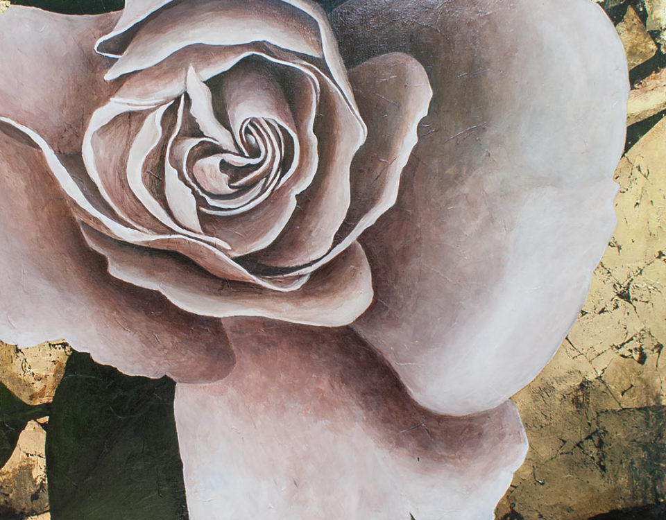 Amanda Kaay - original painting - acrylic and gold leaf - White Rose