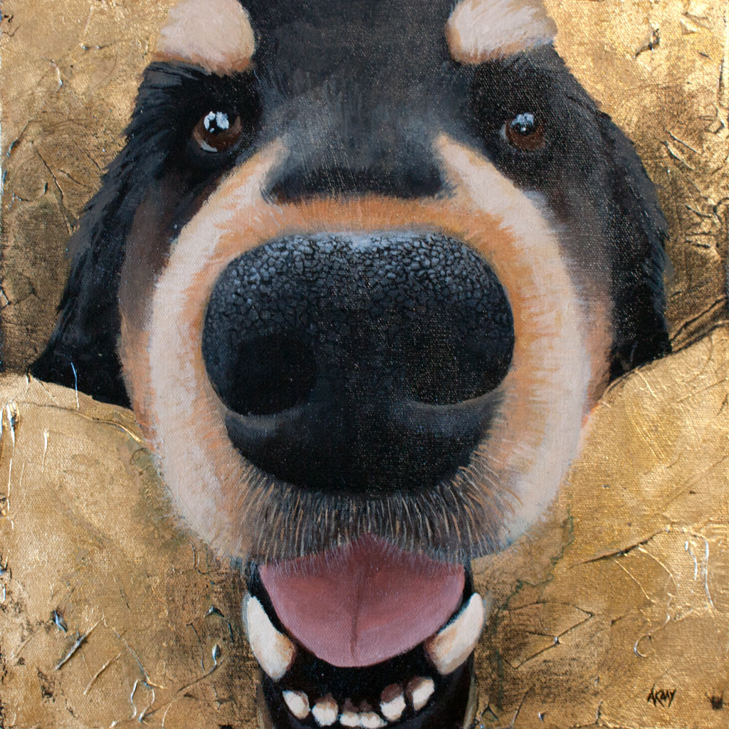 Amanda Kaay - original painting - acrylic and gold leaf - pet portraits - Zebby