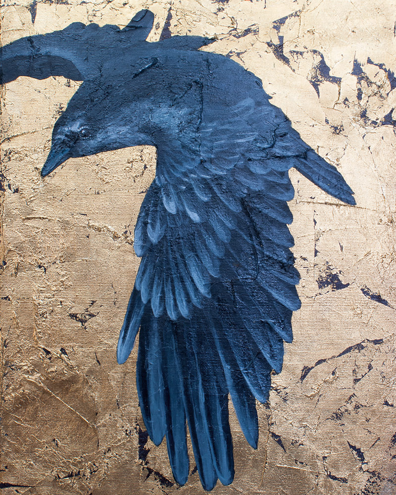 Amanda Kaay - original painting - acrylic and gold leaf - Flying Crow