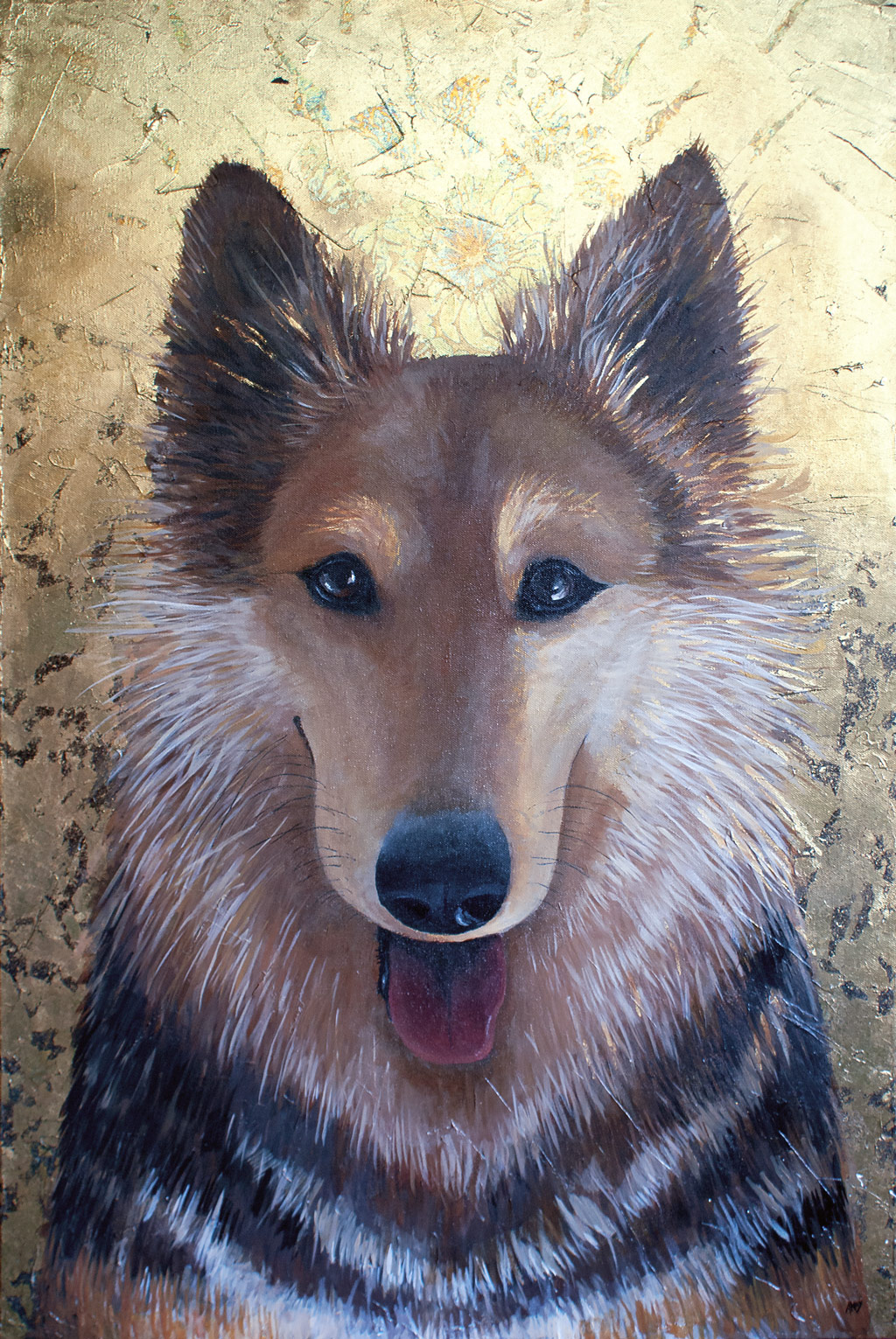 Amanda Kaay - original painting - acrylic and gold leaf - Star - dog portrait